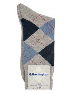 King Cotton Rich Argyle Sock - Light Grey