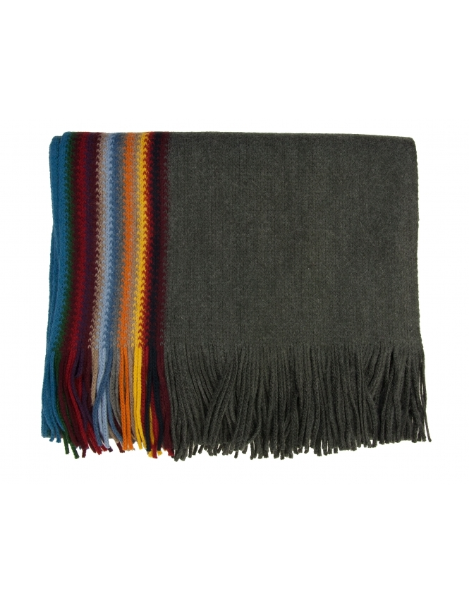Michaelis Knitted Stripe Scarf - Grey