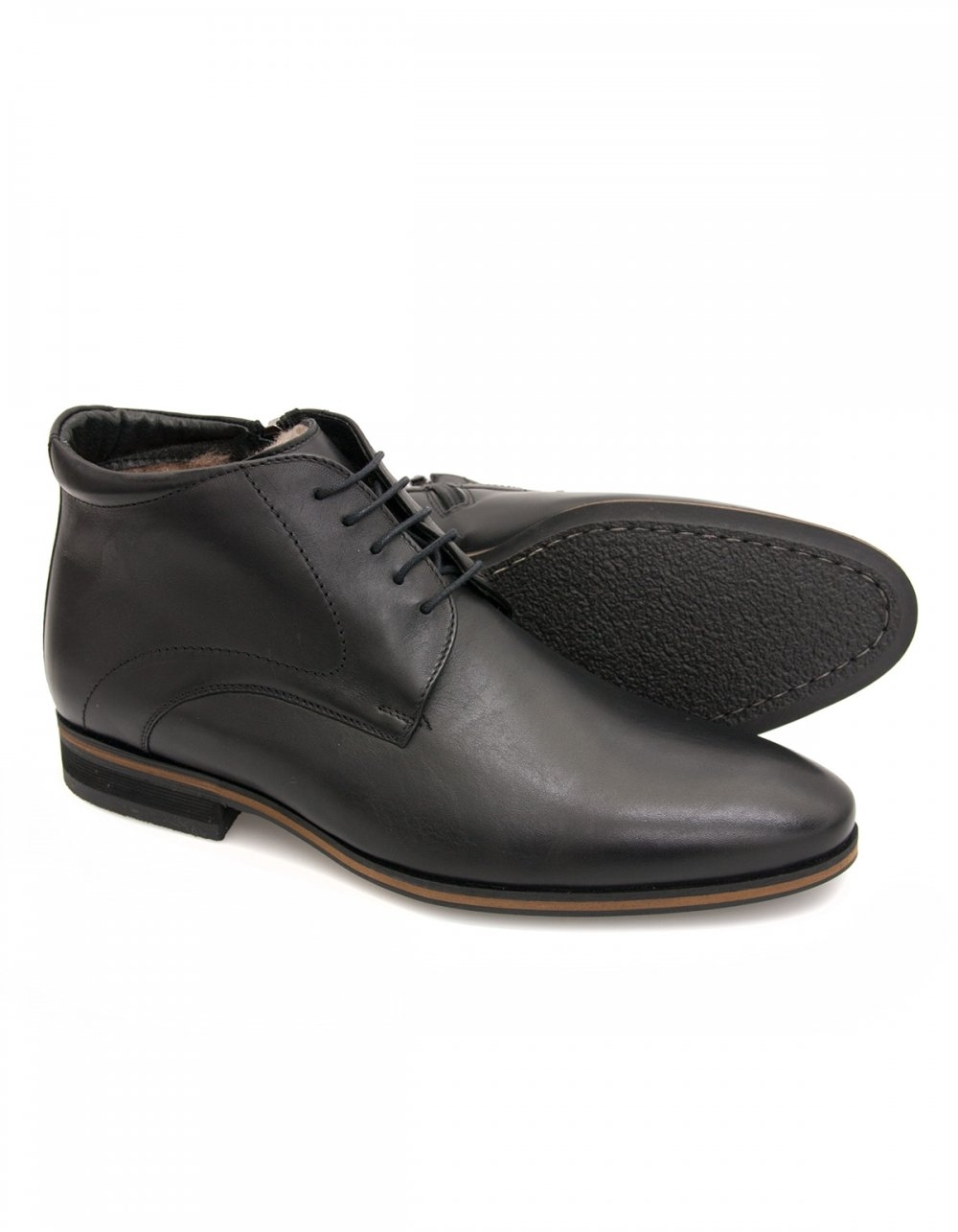 lacuzzo black leather lace boots with side zip and genuine