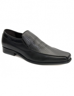 Lennie Black Leather Moccasins
