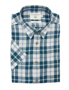 Linen Blend Half Sleeve Check Shirt - Teal