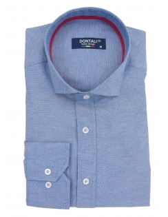 Long Sleeve Slim Fit Oxford Shirt - Blue