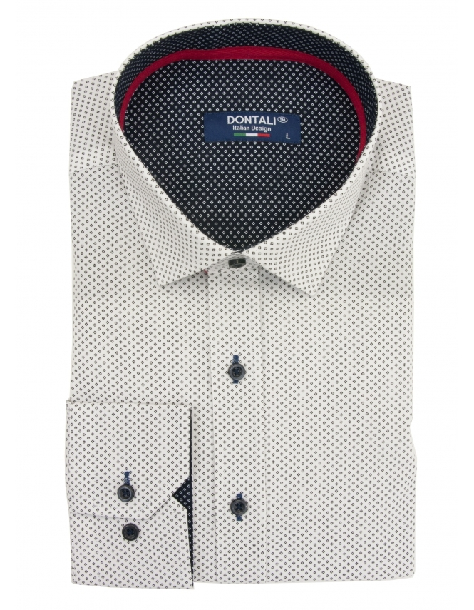 Dontali Long Sleeve Slim Fit Patterned Shirt - White
