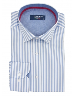 Long Sleeve Slim Fit Striped Shirt - Blue