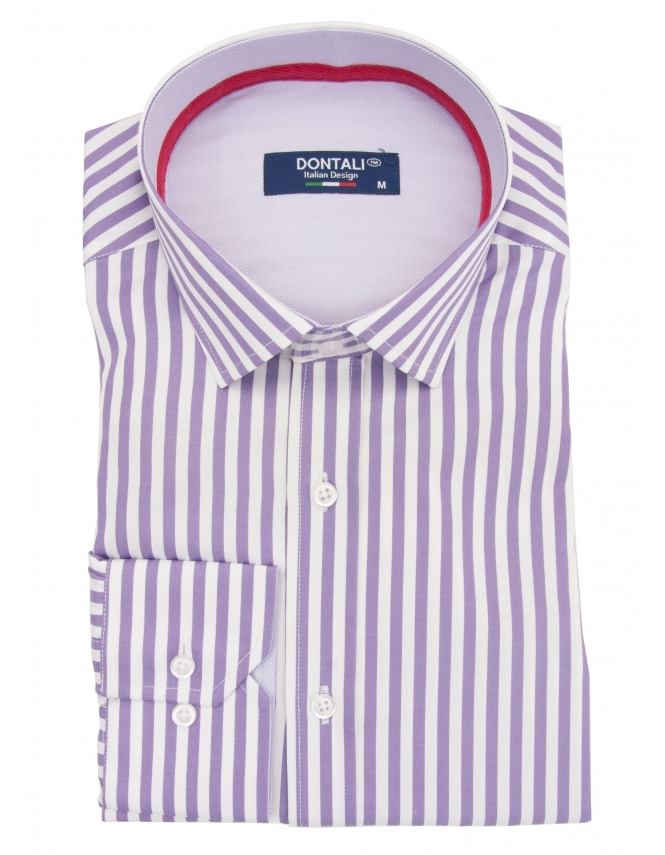 Dontali Long Sleeve Slim Fit Striped Shirt - Lilac