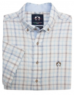 Luxury Pure Cotton Half Sleeve Check Shirt - Camel