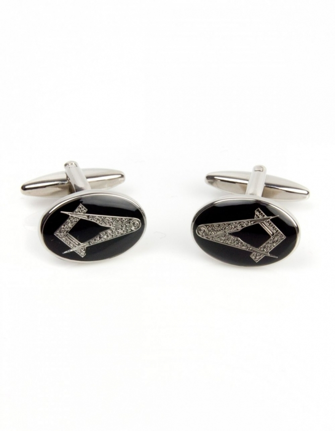 Dalaco Masonic Oval Black Enamel Cufflinks 90-2829