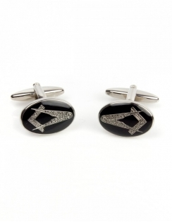 Masonic Oval Black Enamel Cufflinks 90-2829