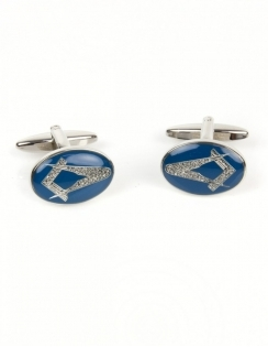 Masonic Oval Blue Enamel Cufflinks 90-2830