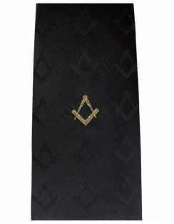 Masonic Silk Tie Gold Embroidery