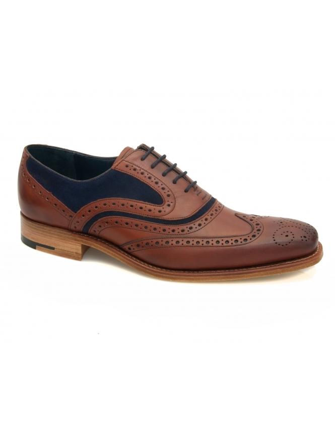 Barker McClean Leather & Suede Wing Tip Brogue - Rosewood