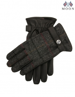 Mens Deerskin Leather Gloves with Abraham Moon Fabric Back and Contrast Cashmere Lining