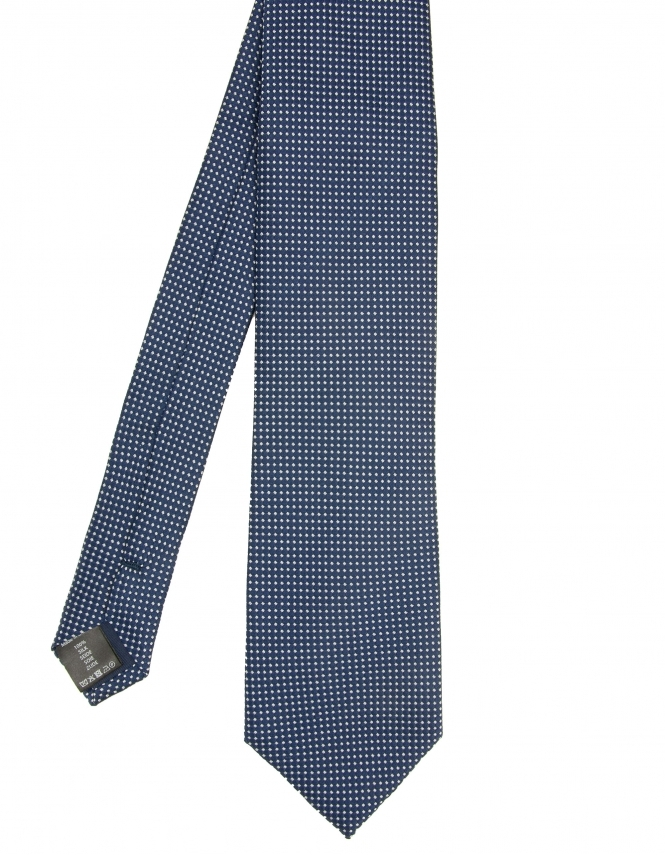 Michaelis Micro Dot Design Woven Silk Tie - Navy & Blue
