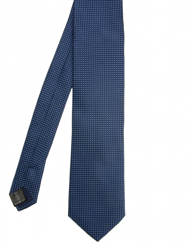 Michaelis Micro Dot Design Woven Silk Tie - Navy
