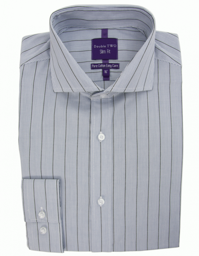 Double Two Micro Striped Slim Fit Shirt - Grey