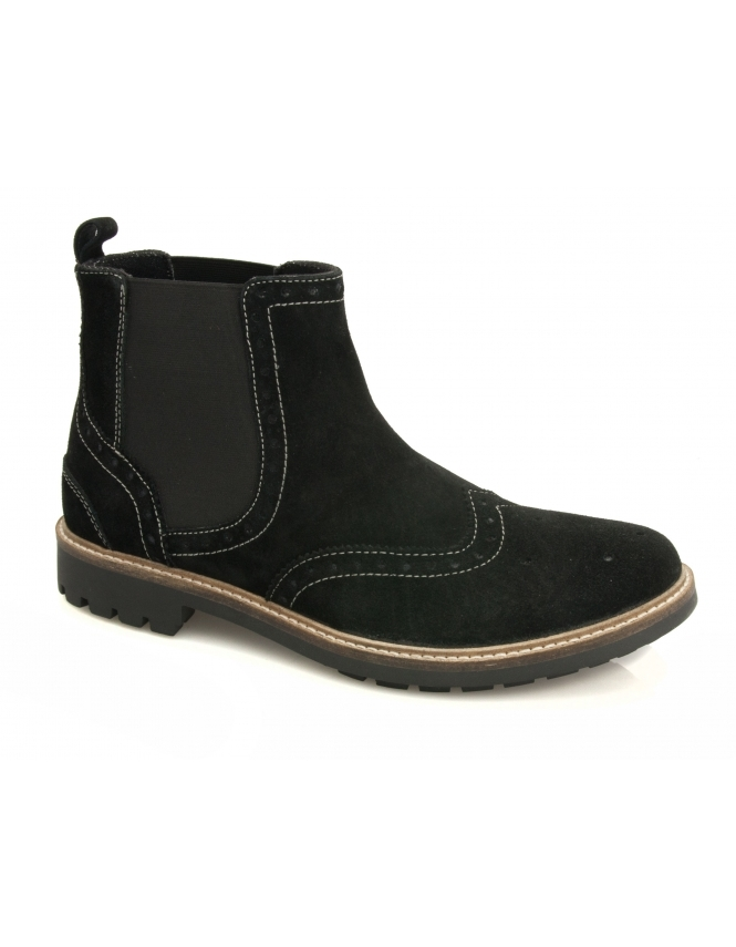 Maybury Mill Suede Brogue Chelsea Boot - Black