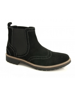 Mill Suede Brogue Chelsea Boot - Black