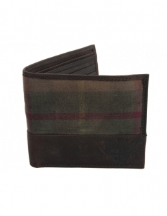 Millerain Waxed Cotton Wallet with Leather Trim - Highlander Green