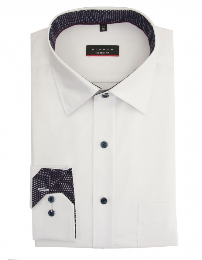 Eterna Modern Fit Chambray Shirt With Patterned Trim - White