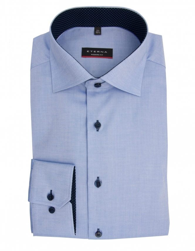 Eterna Modern Fit Fine Oxford With Blue Trim 8100 - Blue