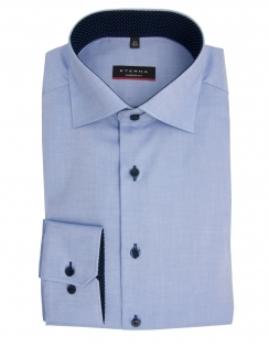 Modern Fit Fine Oxford With Blue Trim 8100 - Blue