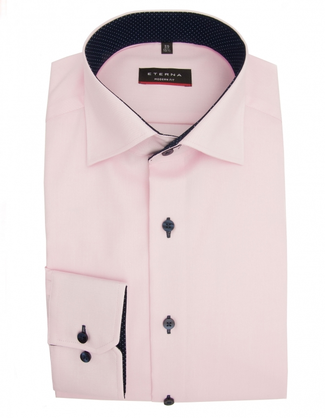 Eterna Modern Fit Fine Oxford With Blue Trim 8100 - Pink