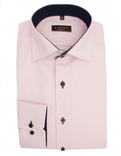 Modern Fit Fine Oxford With Blue Trim 8100 - Pink