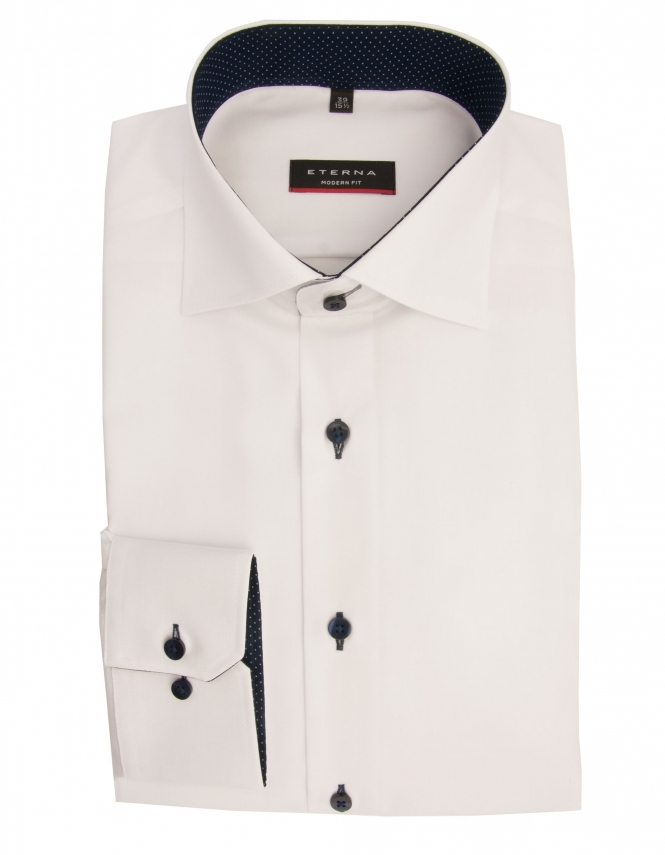 Eterna Modern Fit Fine Oxford With Blue Trim 8100 - White