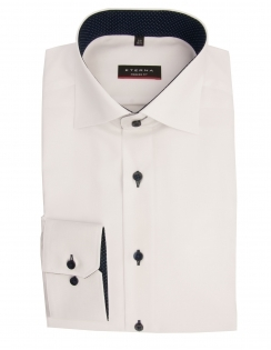 Modern Fit Fine Oxford With Blue Trim 8100 - White