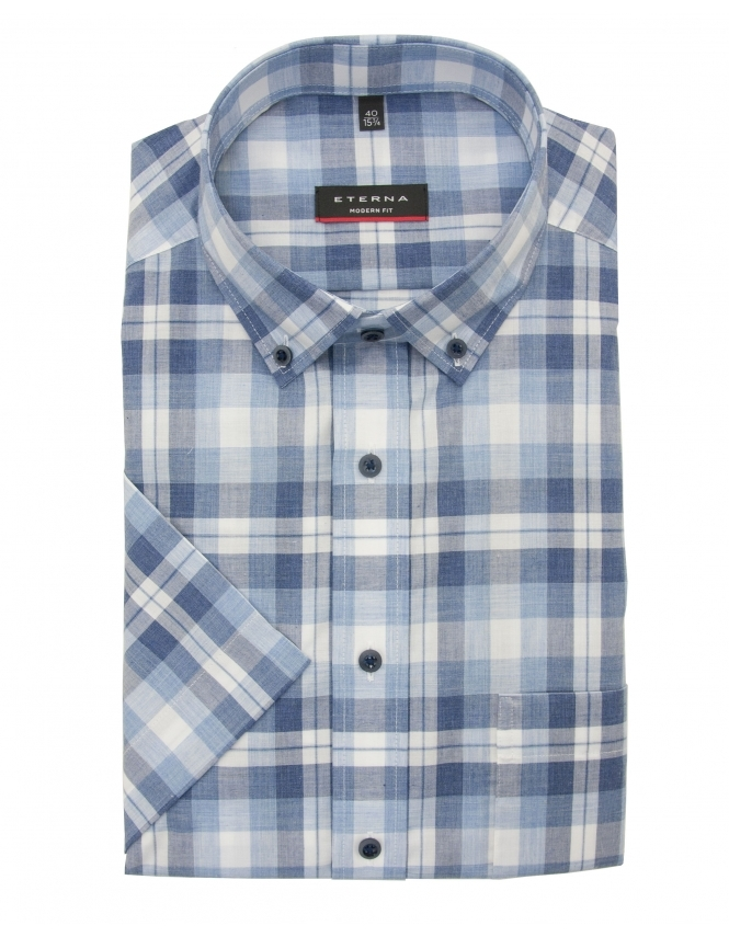 Eterna Modern Fit Half Sleeve Button Down Check Shirt - Blue