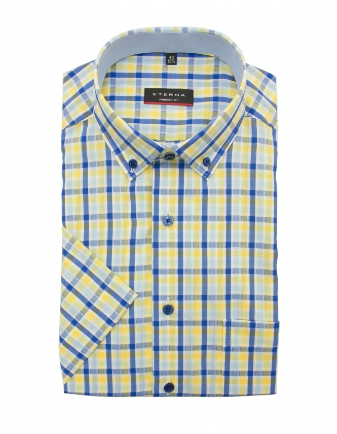 Eterna Modern Fit Half Sleeve Button Down Check Shirt - Yellow