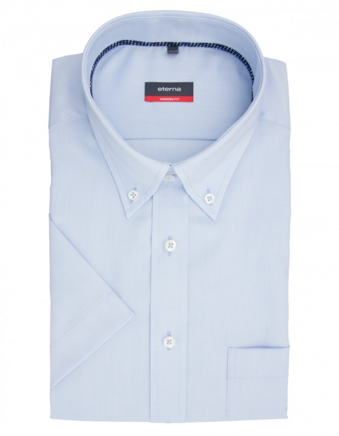 Eterna Modern Fit Half Sleeve Button Down Non Iron Shirt 8226 - Blue