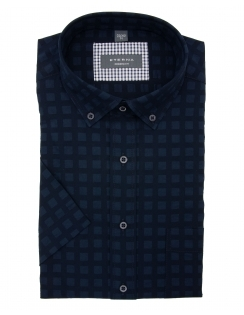 Modern Fit Half Sleeve Button Down Seer Sucker Shirt - Navy