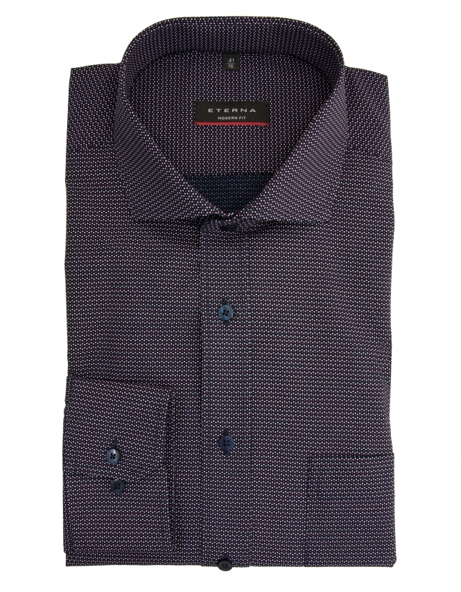 Eterna Modern Fit Patterned Poplin Shirt - Navy