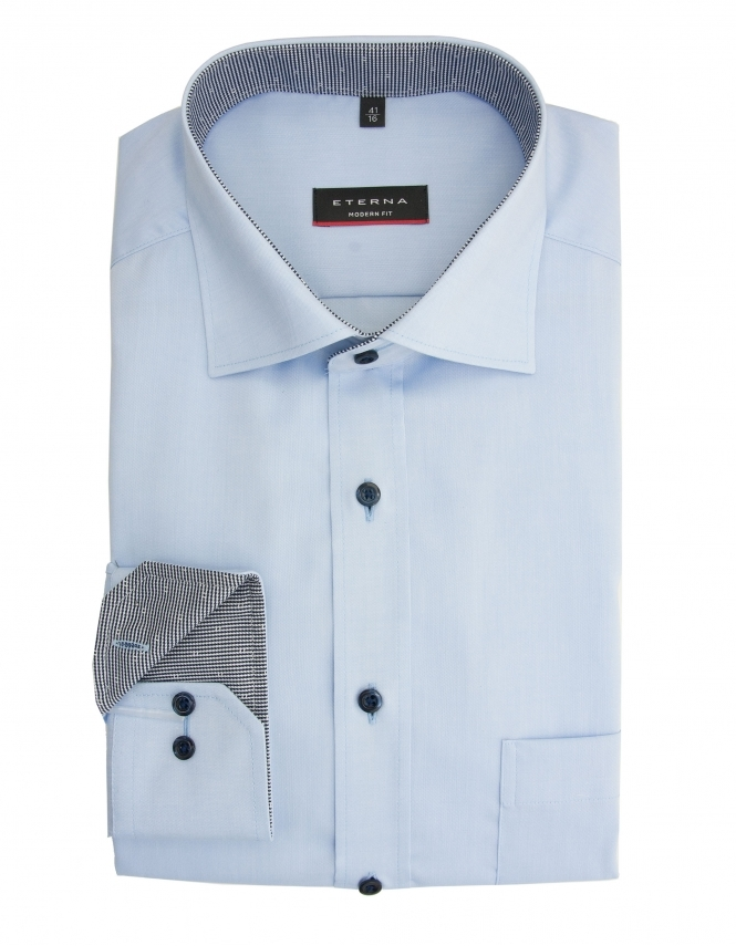 Eterna Modern Fit Pinpoint Shirt With Patterned Trim - Blue