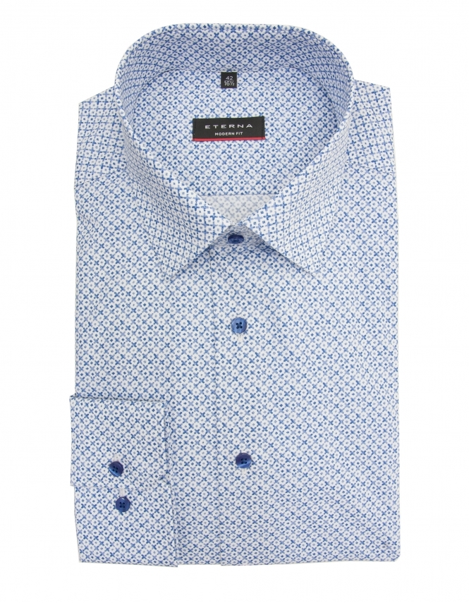 Eterna Modern Fit Poplin Patterned Shirt - Blue