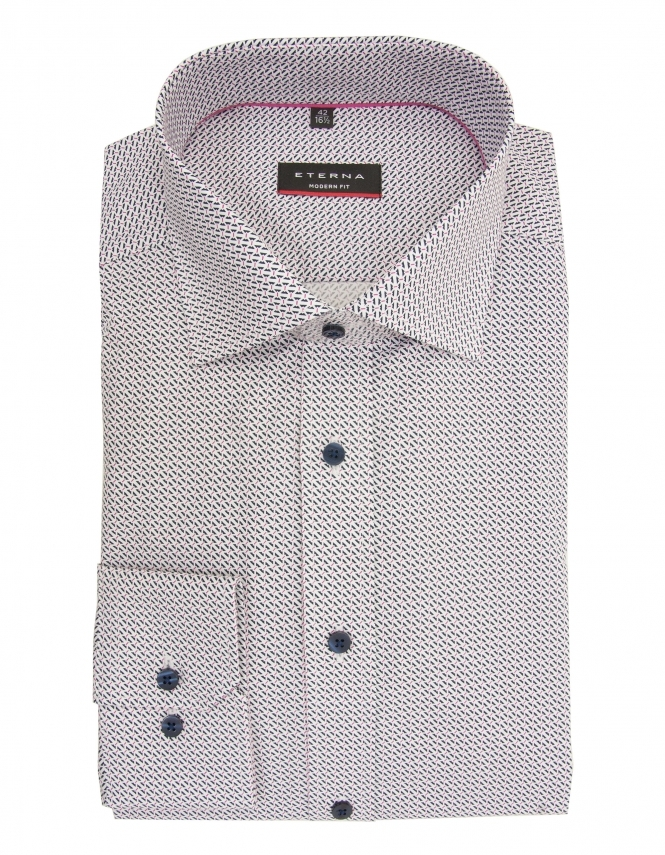 Eterna Modern Fit Poplin Patterned Shirt - Navy/White