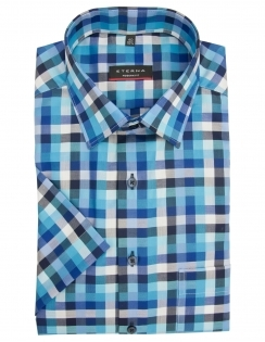 Modern Fit Pure Cotton Half Sleeve Check Shirt - Blue