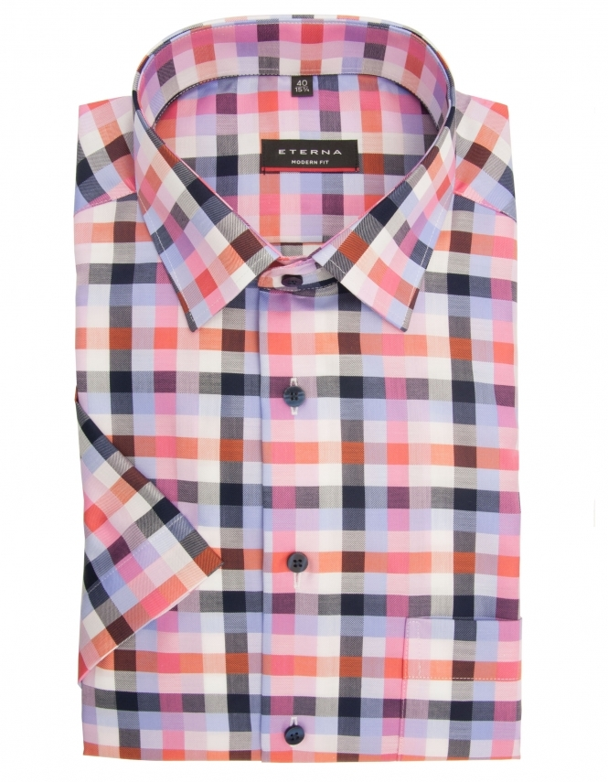 Eterna Modern Fit Pure Cotton Half Sleeve Check Shirt - Pink