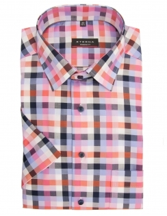 Modern Fit Pure Cotton Half Sleeve Check Shirt - Pink