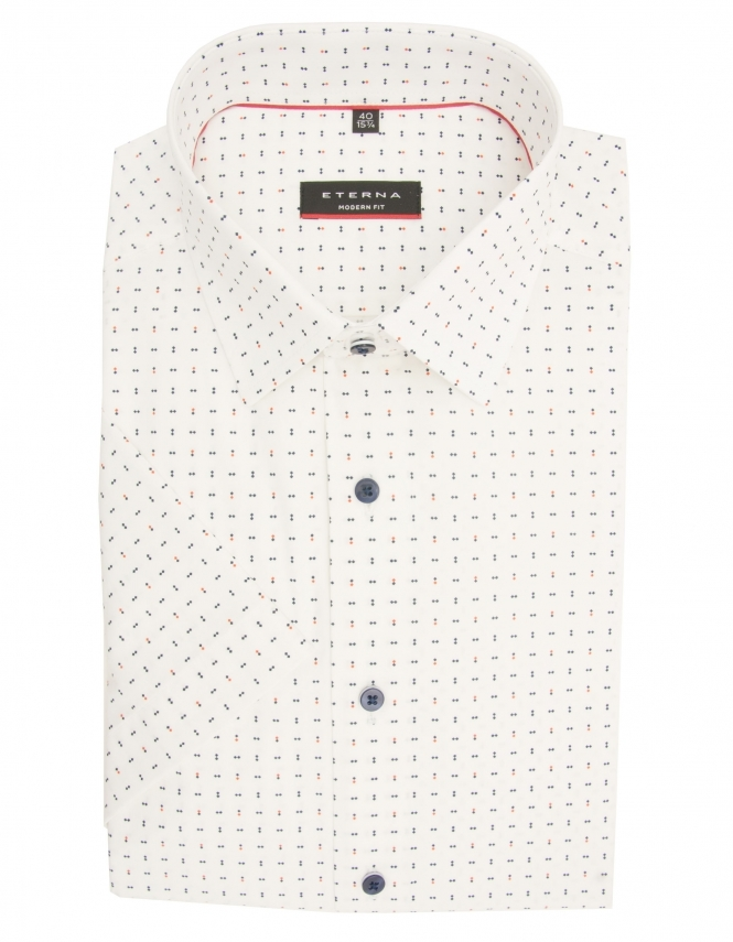 Eterna Modern Fit Pure Cotton Half Sleeve Patterned Shirt - White