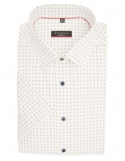 Modern Fit Pure Cotton Half Sleeve Patterned Shirt - White