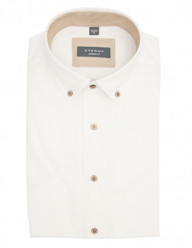 Eterna Modern Fit Pure Cotton Half Sleeve Shirt - White