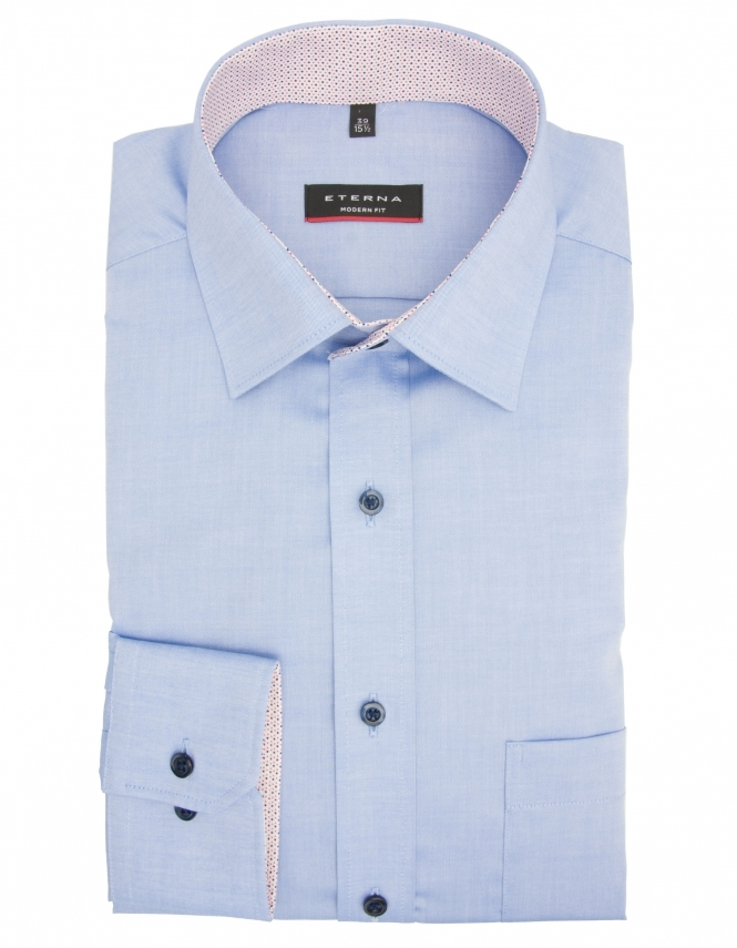 Eterna Modern Fit Pure Cotton Long Sleeve Shirt - Blue