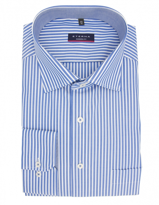 Eterna Modern Fit Pure Cotton Long Sleeve Striped Shirt - Blue