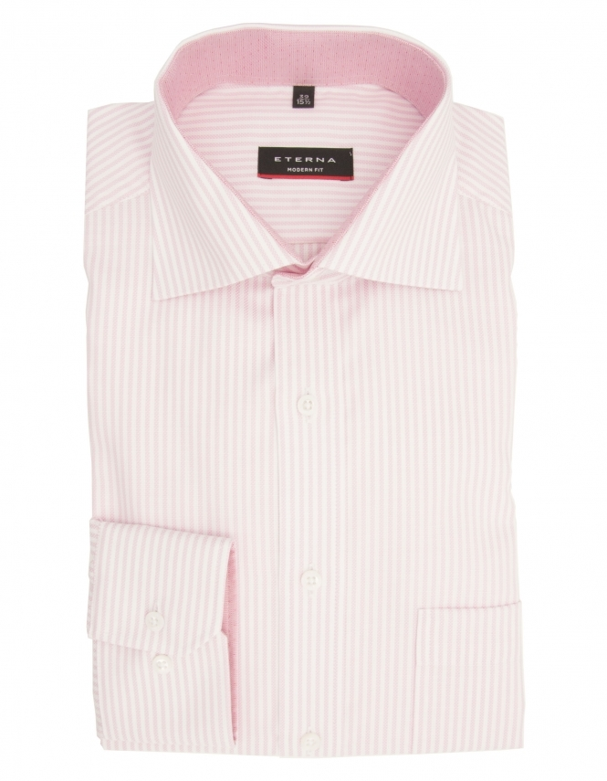 Eterna Modern Fit Pure Cotton Long Sleeve Striped Shirt - Pink