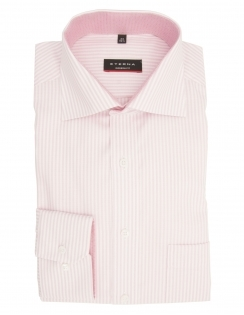 Modern Fit Pure Cotton Long Sleeve Striped Shirt - Pink