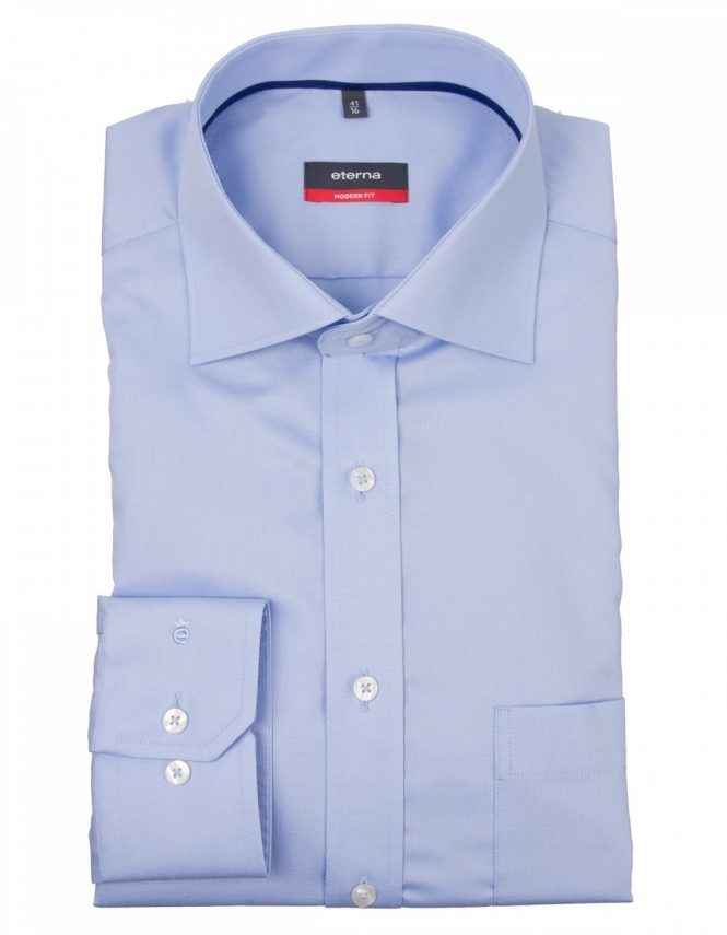 Eterna Modern Fit Sretch Diamond Weave Shirt 4860 - Blue
