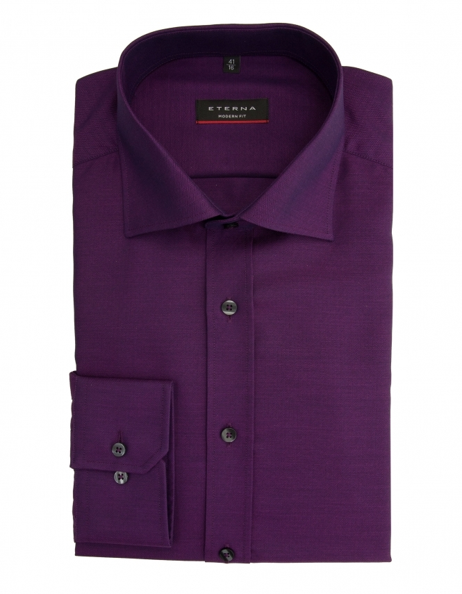 Eterna Modern Fit Structured Weave Shirt - Purple