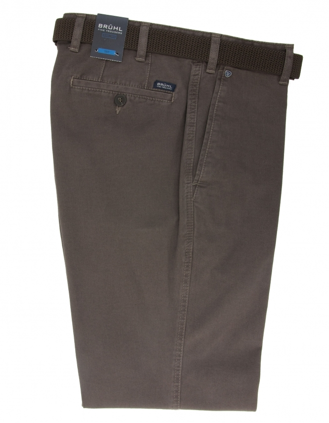 Bruhl Montana Cotton Chino With Stretch Waistband - Putty